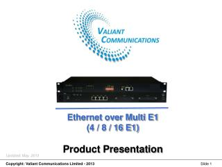 Ethernet over Multi E1 (4 / 8 / 16 E1) Product Presentation