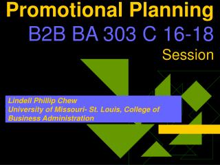 Promotional Planning B2B BA 303 C 16-18 Session