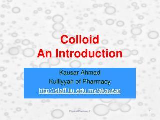 Colloid An Introduction