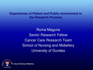 Experiences of Patient and Public involvement in the Research Process