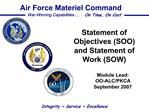 Statement of Objectives SOO and Statement of Work SOW