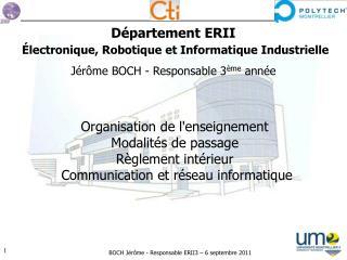 Département  ERII Électronique , Robotique  et  Informatique Industrielle