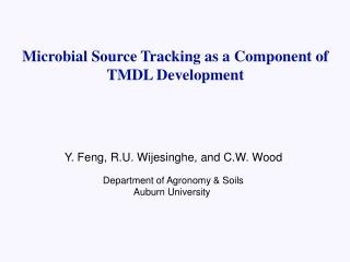 Microbial Source Tracking as a Component of TMDL Development