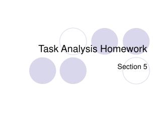 Task Analysis Homework
