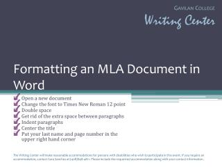 Formatting an MLA Document in Word