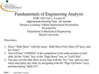 Fundamentals of Engineering Analysis EGR 1302 Unit 1, Lecture D