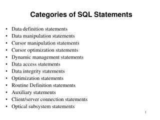 Categories of SQL Statements