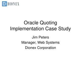 Oracle Quoting Implementation Case Study