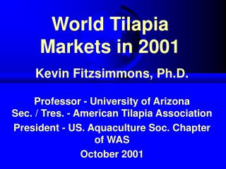 World Tilapia Markets in 2001