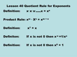 Lesson 40 Quotient Rule for Exponents