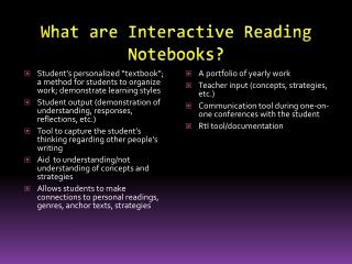 What are Interactive Reading Notebooks?