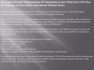 Corcentric Presents 'Implementing AP Automation: Learn What