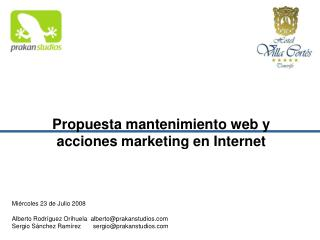 Propuesta mantenimiento web y acciones marketing en Internet