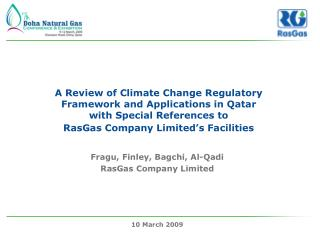 A Review of Climate Change Regulatory Framework and Applications in Qatar  with Special References to  RasGas Company Li