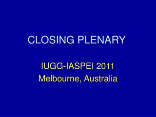 CLOSING PLENARY