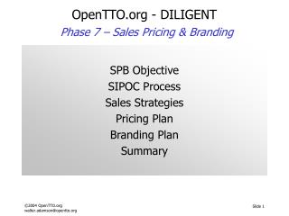 OpenTTO - DILIGENT Phase 7 –  Sales Pricing & Branding
