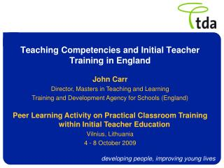 Teaching Competencies and Initial Teacher Training in England