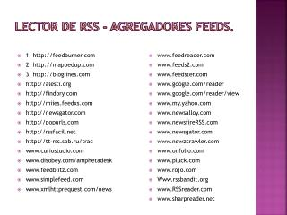 Lector de RSS -  Agregadores Feeds .