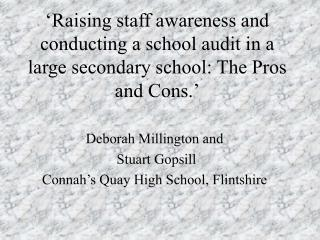 Raising staff awareness and conducting a school audit in a large secondary school: The Pros and Cons.