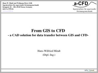 From GIS to CFD - a CAD solution for data transfer between GIS and CFD-