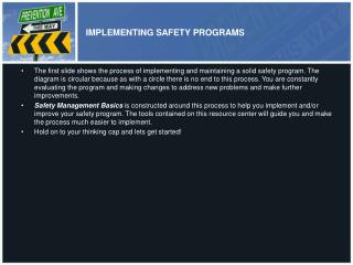 IMPLEMENTING SAFETY PROGRAMS
