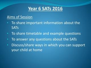 Year 6 SATs 2016