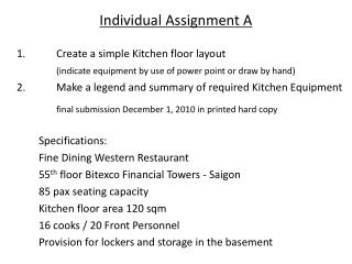 Individual Assignment A 	1.		Create a simple Kitchen floor layout