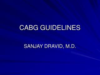 CABG GUIDELINES