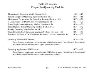 Table of Contents Chapter 14 (Queueing Models)