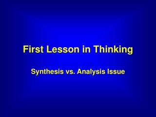 First Lesson in Thinking