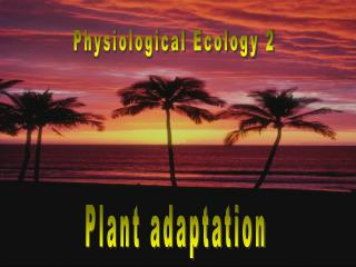 Physiological Ecology 2