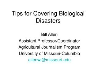 Tips for Covering Biological Disasters