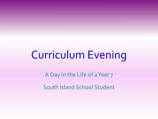 Curriculum Evening