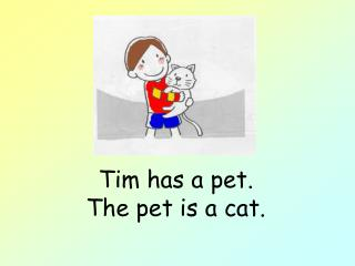 Tim has a pet. The pet is a cat.