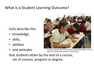 What is a Student Learning Outcome? SLOs describe the: knowledge, skills, abilities and attitudes