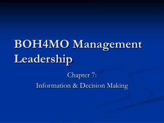 BOH4MO Management Leadership