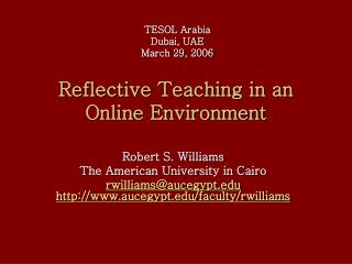 Reflective Teaching in an Online Environment