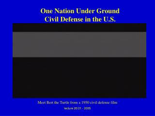 One Nation Under Ground Civil Defense in the U.S.