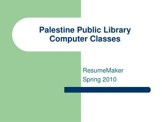 Palestine Public Library Computer Classes