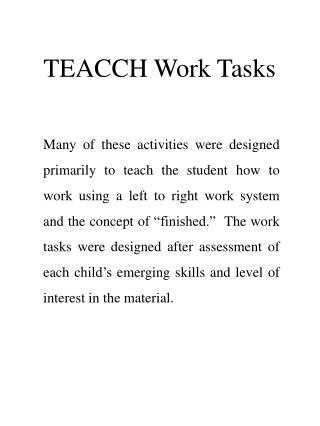 TEACCH Work Tasks