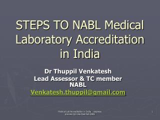 STEPS TO NABL Medical Laboratory Accreditation in India