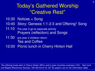 """Today's Gathered Worship  """"Creative Rest"""""""