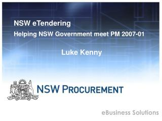 NSW eTendering Helping NSW Government meet PM 2007-01