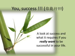 You, success !!! ( 你能行 !!! )