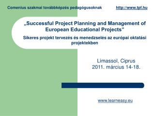 """Successful Project Planning and Management of European Educational Projects"""