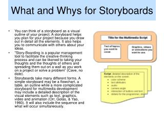 What and Whys for Storyboards