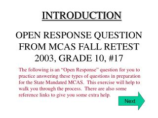 OPEN RESPONSE QUESTION FROM MCAS FALL RETEST 2003, GRADE 10, 17