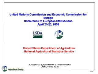 United States Department of Agriculture National Agricultural Statistics Service