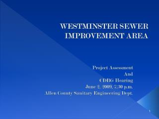 WESTMINSTER SEWER IMPROVEMENT AREA