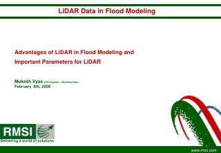 Advantages of LiDAR in Flood Modeling and Important Parameters for LiDAR